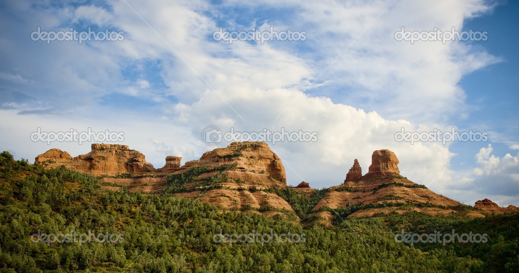 Beautiful sky with red rock formations in Sedona, Arizona  Stock Photo #12107468