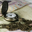 Watch with chain and money — Stock Photo