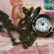 Stock Photo: Watch with chain and money
