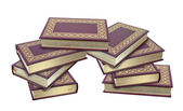 Stacked Leather Books with Gold Leaf Edges — Stock Photo