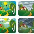 Stock Vector: Weather landscapes