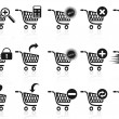 Black shopping cart icon set - Stock Vector