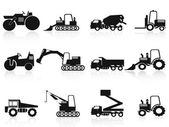 Black Construction Vehicles icons set — Stock Vector
