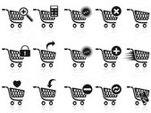 Black shopping cart icon set — Stock Vector