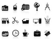 Black office tools icon set — Stock Vector