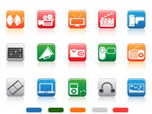 Button media tools icon set — Stock Vector