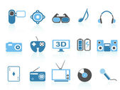 Media entertainment icons ,blue series — Stock Vector