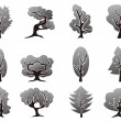 Black tree icons set - Imagen vectorial