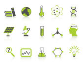 Simple science icons set,green series — Stock Vector