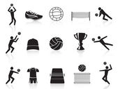 Black volleyball icons set — Stock Vector