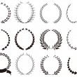 Set of black Laurel Wreaths — Image vectorielle