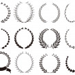 Royalty-Free Stock Imagen vectorial: Set of black Laurel Wreaths