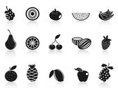 Black fruit icons set — Stock Vector