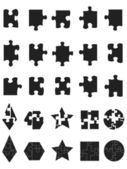 Black jigsaw Puzzle Pieces icon — Vector de stock