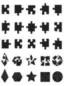 Icône de pièces noir jigsaw puzzle — Vecteur