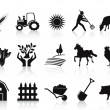 Black farm and agriculture icons set - Stok Vektör