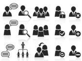 Sada ikon černé společenské symbolů — Stock vektor