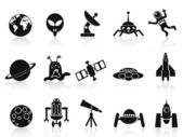 Black space icons set — 图库矢量图片