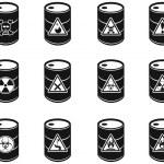 Toxic hazardous waste barrels icon — Stock Vector