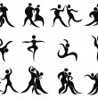 Collection of abstract dancers - Stock Vector