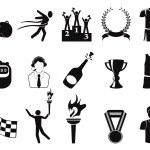 Black sports icons set — Stock Vector #11964811