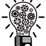 Light bulb with gears — Stock Vector