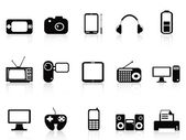Black electronic objects icons set — Vetorial Stock