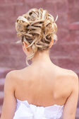 Back view of elegant wedding hairstyle — Stock Photo
