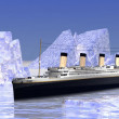 Boat among icebergs - Stock Photo
