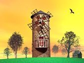 Stary wiatrak — Zdjęcie stockowe