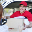 Postal delivery courier in a van delivering package - Stock Photo