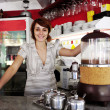 Small business: proud owner or waitress — Stockfoto