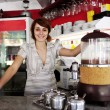 Small business: proud owner or waitress — Stok fotoğraf