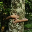 In love with nature: woman hugging a tree in the forest — Photo