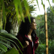 Ecotourism: female hiker exploring wilderness of rainforest — 图库照片 #10958443