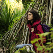 Ecotourism: female  hiker exploring wilderness of rainforest — Stock Photo