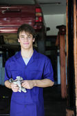 Portrait of a car mechanic at work — Foto Stock