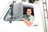 Mutlu kamyon şoförü — Stok fotoğraf
