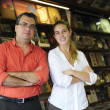 Stock Photo: family business partners owners of a small bookstore