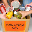Foto Stock: Volunteers putting food in donation box