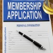 Stock Photo: Membership application form on desk