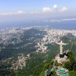 Christ Redeemer Statue and Sugarloaf Mountain in Rio de Janeiro, Brazil - Stock Photo