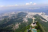 Estatua del cristo redentor y pan de azúcar en río de janeiro, brasil — Foto de Stock