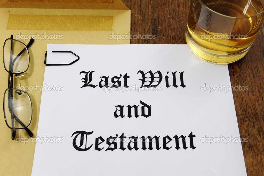 Last Will and Testament  and glass of whiskey on a wooden desk    #11218814