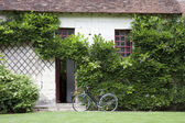 Bike near the entrance in a traditional house, France — Stock Photo