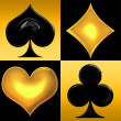 Stock Photo: Golden Playing card suits