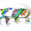 Rainbow World Map - Stock Photo