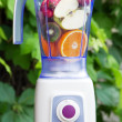 Electric blender with fruits in it - Stock Photo