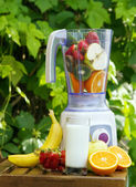 Electric blender with fruits in it — Stock Photo