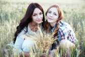 Beautiful ladies in a field — Stock Photo